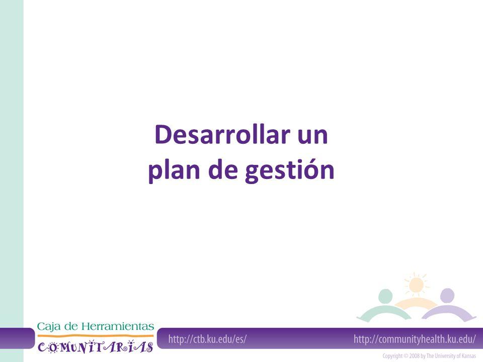 Desarrollar un plan de gestión
