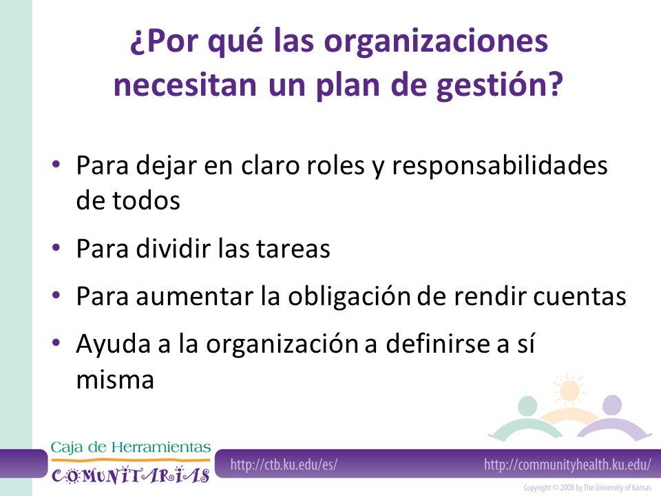 ¿Por qué las organizaciones necesitan un plan de gestión.