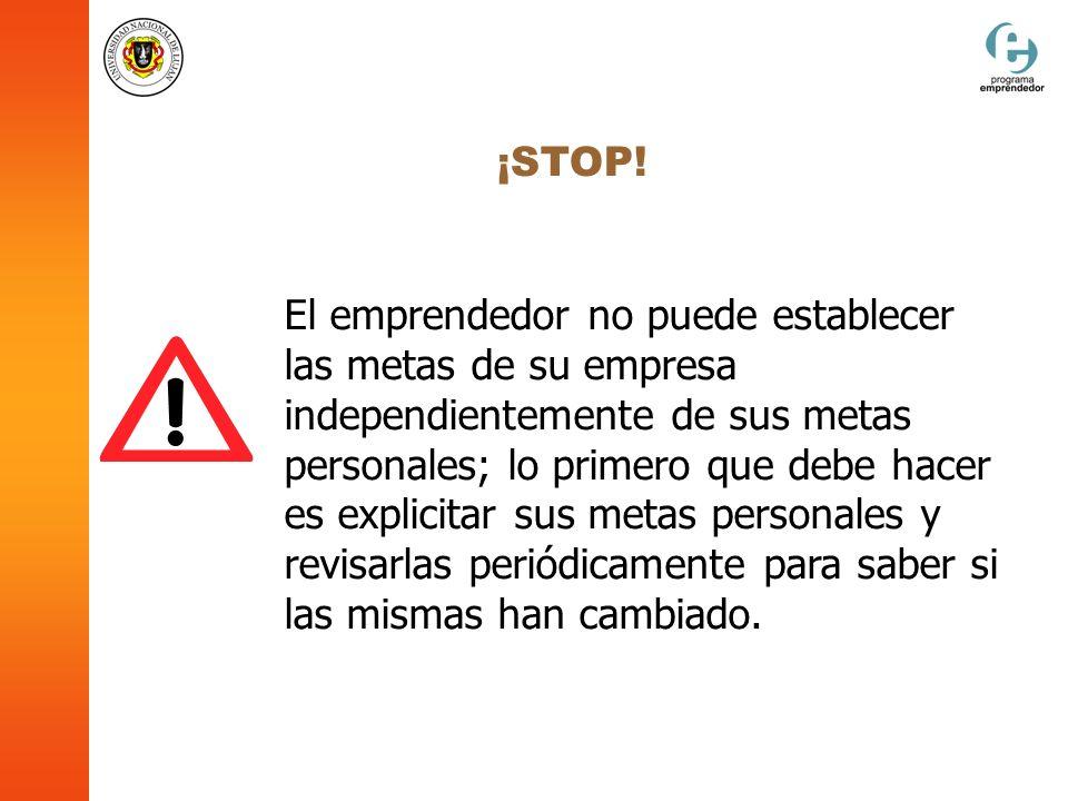 ¡STOP! El emprendedor no puede establecer las metas de su empresa independientemente de sus metas personales; lo primero que debe hacer es explicitar