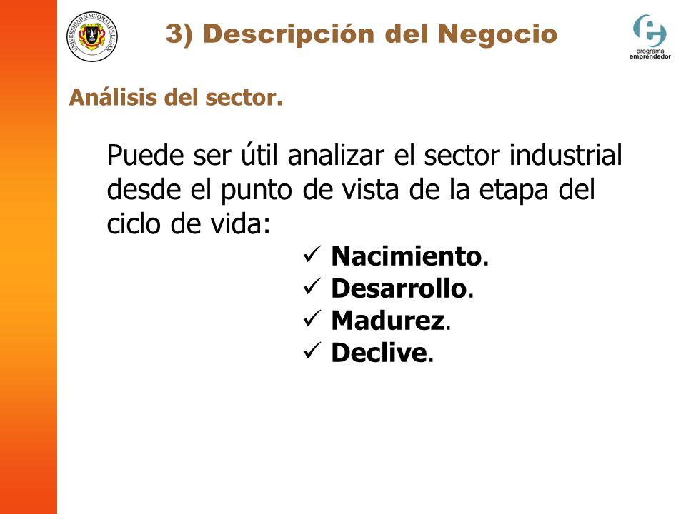 3) Descripción del Negocio Análisis del sector. Puede ser útil analizar el sector industrial desde el punto de vista de la etapa del ciclo de vida: Na