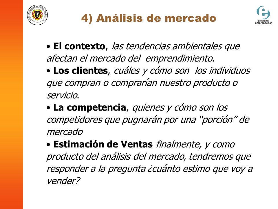 4) Análisis de mercado El contexto, las tendencias ambientales que afectan el mercado del emprendimiento. Los clientes, cuáles y cómo son los individu