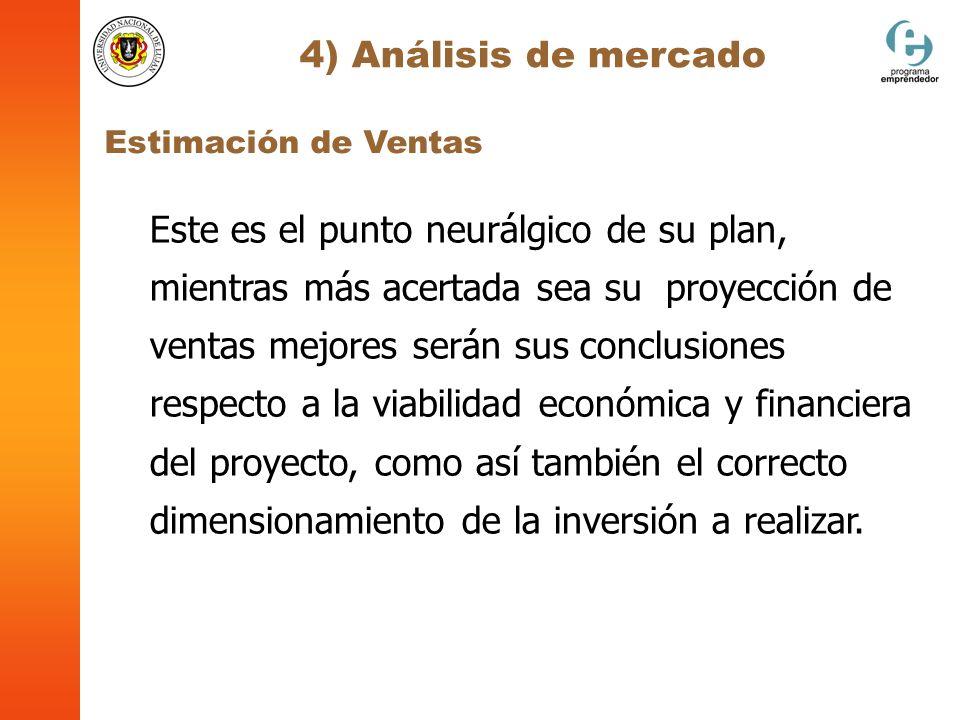 4) Análisis de mercado Estimación de Ventas Este es el punto neurálgico de su plan, mientras más acertada sea su proyección de ventas mejores serán su