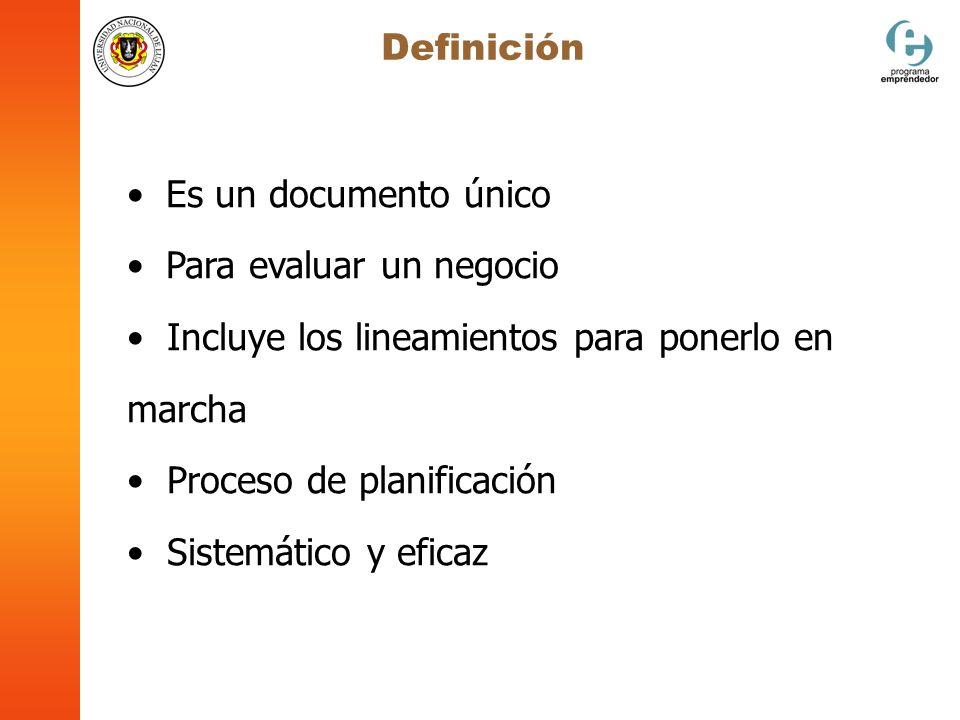 Es un documento único Para evaluar un negocio Incluye los lineamientos para ponerlo en marcha Proceso de planificación Sistemático y eficaz Definición