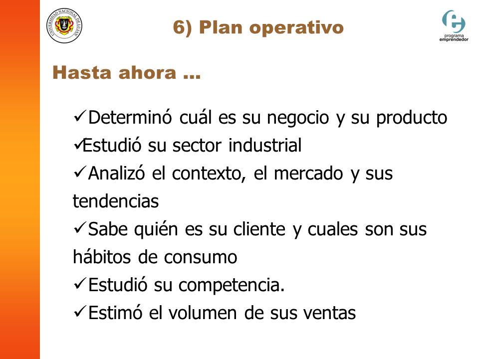 6) Plan operativo Hasta ahora … Determinó cuál es su negocio y su producto Estudió su sector industrial Analizó el contexto, el mercado y sus tendenci