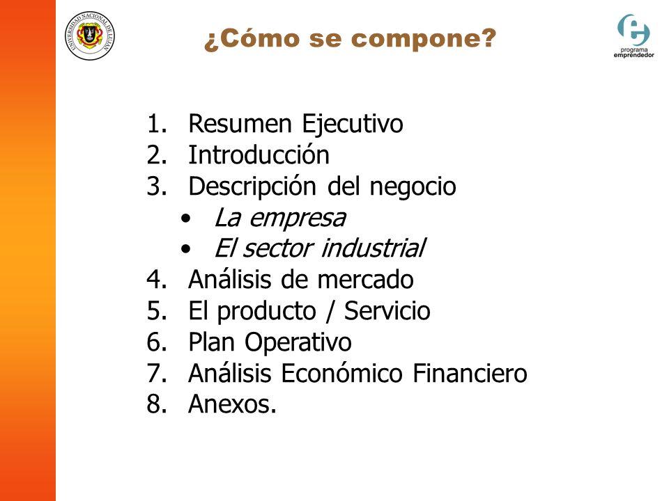 1. Resumen Ejecutivo 2. Introducción 3. Descripción del negocio La empresa El sector industrial 4. Análisis de mercado 5. El producto / Servicio 6. Pl