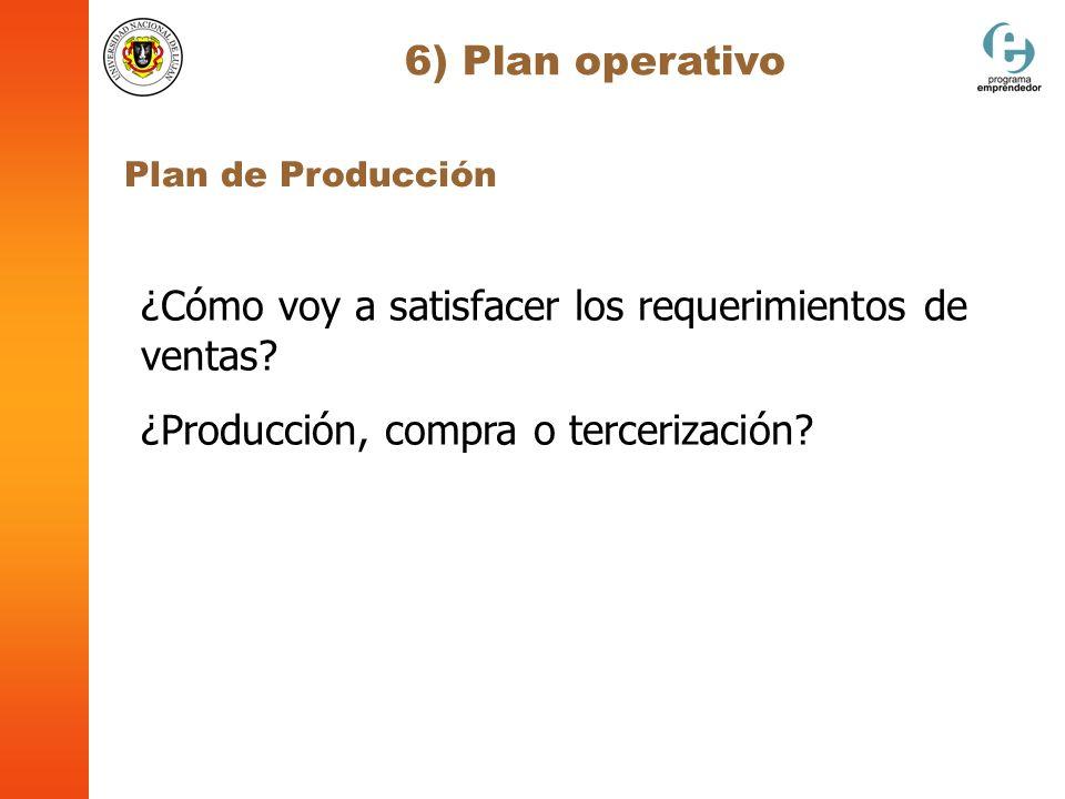 6) Plan operativo Plan de Producción ¿Cómo voy a satisfacer los requerimientos de ventas? ¿Producción, compra o tercerización?