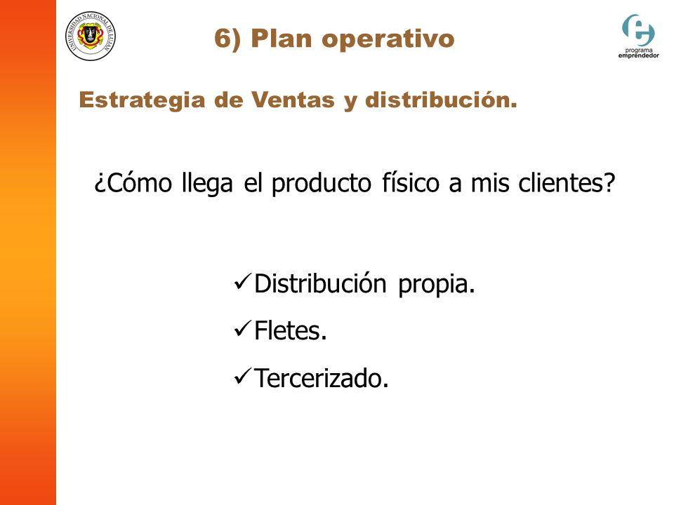 6) Plan operativo Estrategia de Ventas y distribución. Distribución propia. Fletes. Tercerizado. ¿Cómo llega el producto físico a mis clientes?