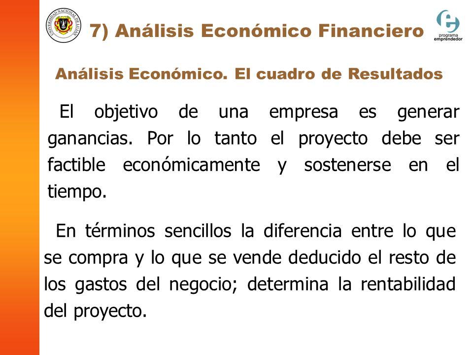 Análisis Económico. El cuadro de Resultados 7) Análisis Económico Financiero El objetivo de una empresa es generar ganancias. Por lo tanto el proyecto