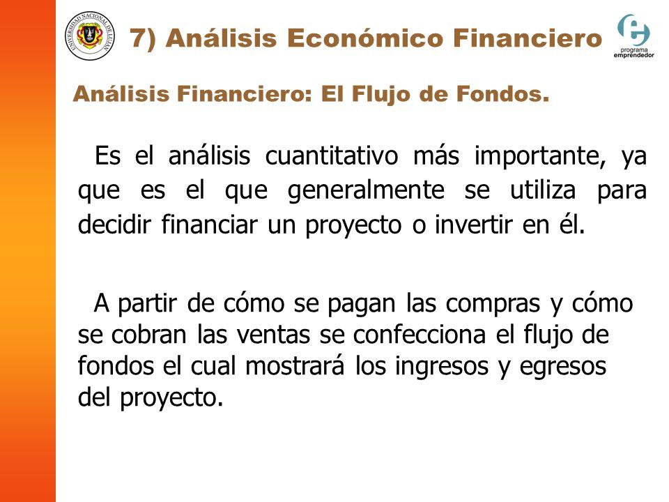 Análisis Financiero: El Flujo de Fondos. 7) Análisis Económico Financiero Es el análisis cuantitativo más importante, ya que es el que generalmente se