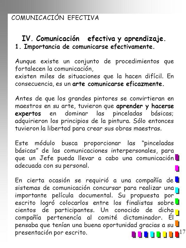 COMUNICACIÓN EFECTIVA 17 IV. Comunicación efectiva y aprendizaje. 1. Importancia de comunicarse efectivamente. Aunque existe un conjunto de procedimie