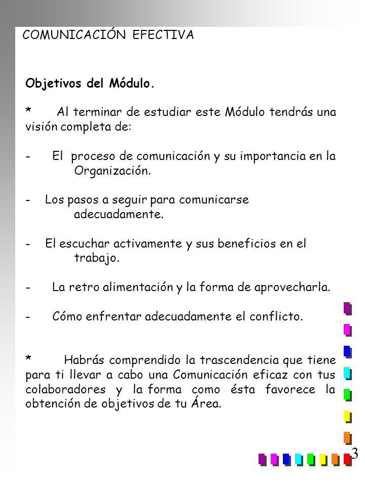 COMUNICACIÓN EFECTIVA 3 Objetivos del Módulo. * Al terminar de estudiar este Módulo tendrás una visión completa de: - El proceso de comunicación y su