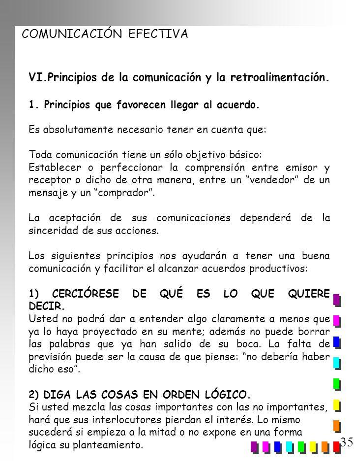 COMUNICACIÓN EFECTIVA 35 VI.Principios de la comunicación y la retroalimentación. 1. Principios que favorecen llegar al acuerdo. Es absolutamente nece