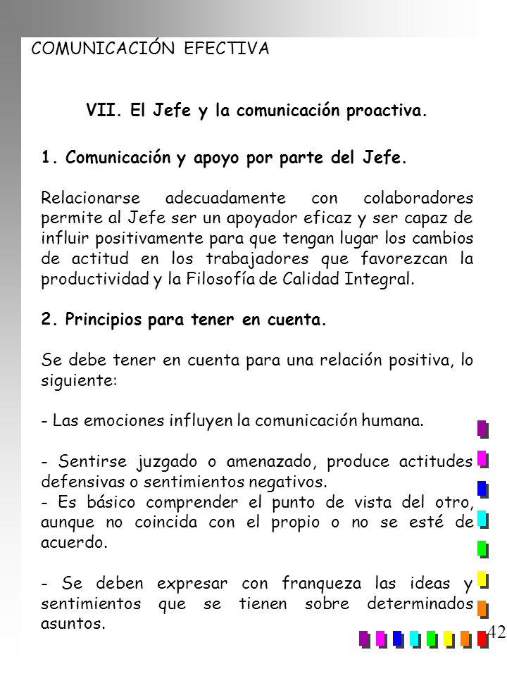 COMUNICACIÓN EFECTIVA 42 VII. El Jefe y la comunicación proactiva. 1. Comunicación y apoyo por parte del Jefe. Relacionarse adecuadamente con colabora