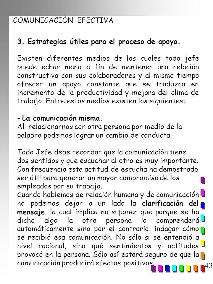 COMUNICACIÓN EFECTIVA 43 3. Estrategias útiles para el proceso de apoyo. Existen diferentes medios de los cuales todo jefe puede echar mano a fin de m