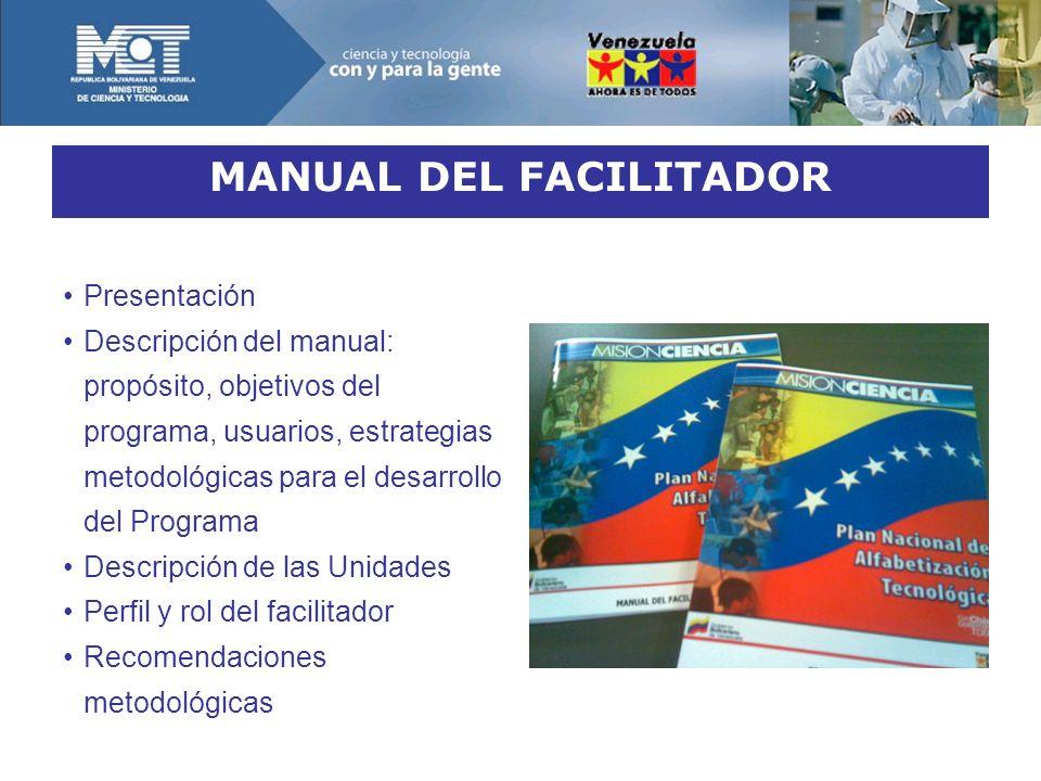 MANUAL DEL FACILITADOR Presentación Descripción del manual: propósito, objetivos del programa, usuarios, estrategias metodológicas para el desarrollo del Programa Descripción de las Unidades Perfil y rol del facilitador Recomendaciones metodológicas