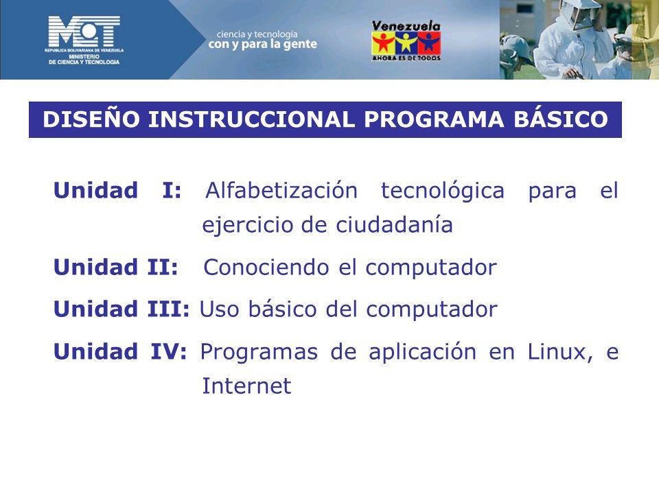 DISEÑO INSTRUCCIONAL PROGRAMA BÁSICO Unidad I: Alfabetización tecnológica para el ejercicio de ciudadanía Unidad II: Conociendo el computador Unidad III: Uso básico del computador Unidad IV: Programas de aplicación en Linux, e Internet