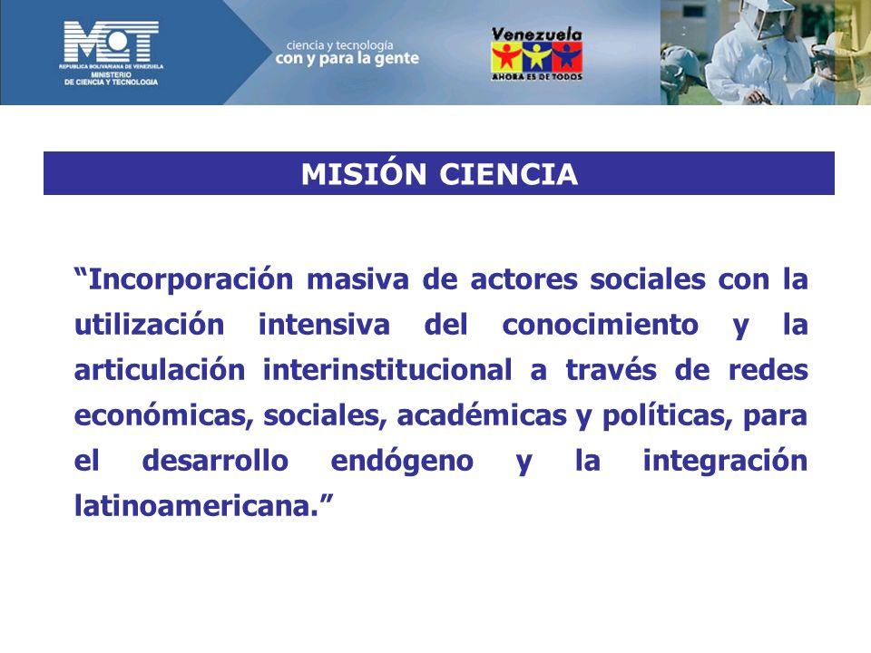 MISIÓN CIENCIA Incorporación masiva de actores sociales con la utilización intensiva del conocimiento y la articulación interinstitucional a través de redes económicas, sociales, académicas y políticas, para el desarrollo endógeno y la integración latinoamericana.