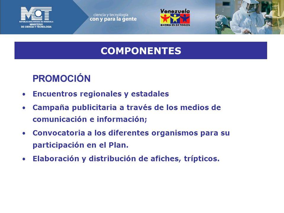PROMOCIÓN Encuentros regionales y estadales Campaña publicitaria a través de los medios de comunicación e información; Convocatoria a los diferentes organismos para su participación en el Plan.