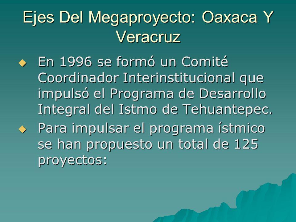 Ejes Del Megaproyecto: Oaxaca Y Veracruz En 1996 se formó un Comité Coordinador Interinstitucional que impulsó el Programa de Desarrollo Integral del
