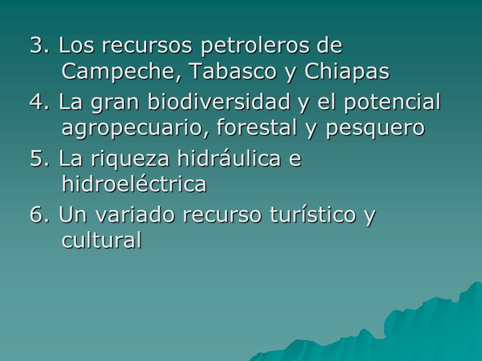 3. Los recursos petroleros de Campeche, Tabasco y Chiapas 4. La gran biodiversidad y el potencial agropecuario, forestal y pesquero 5. La riqueza hidr