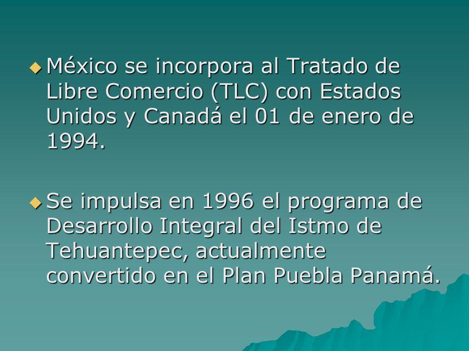 México se incorpora al Tratado de Libre Comercio (TLC) con Estados Unidos y Canadá el 01 de enero de 1994. México se incorpora al Tratado de Libre Com