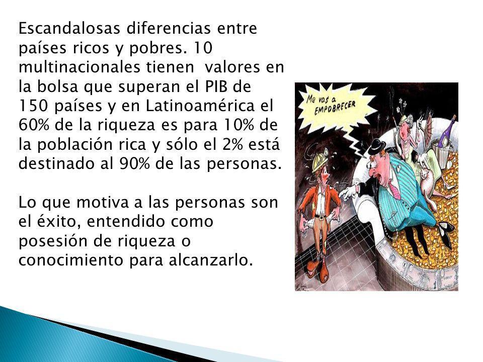 Escandalosas diferencias entre países ricos y pobres. 10 multinacionales tienen valores en la bolsa que superan el PIB de 150 países y en Latinoaméric