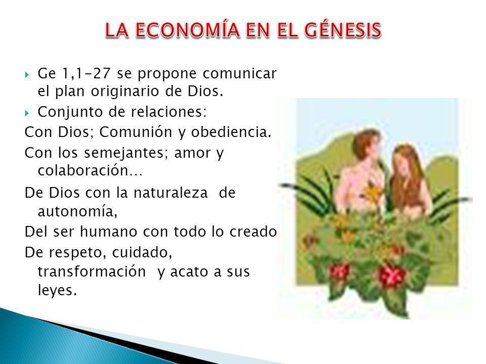 Ge 1,1-27 se propone comunicar el plan originario de Dios. Conjunto de relaciones: Con Dios; Comunión y obediencia. Con los semejantes; amor y colabor