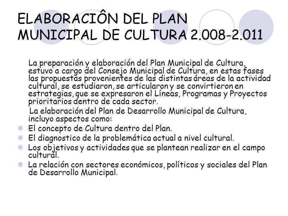 ELABORACIÔN DEL PLAN MUNICIPAL DE CULTURA2.008-2.011 La preparación y elaboración del Plan Municipal de Cultura, estuvo a cargo del Consejo Municipal