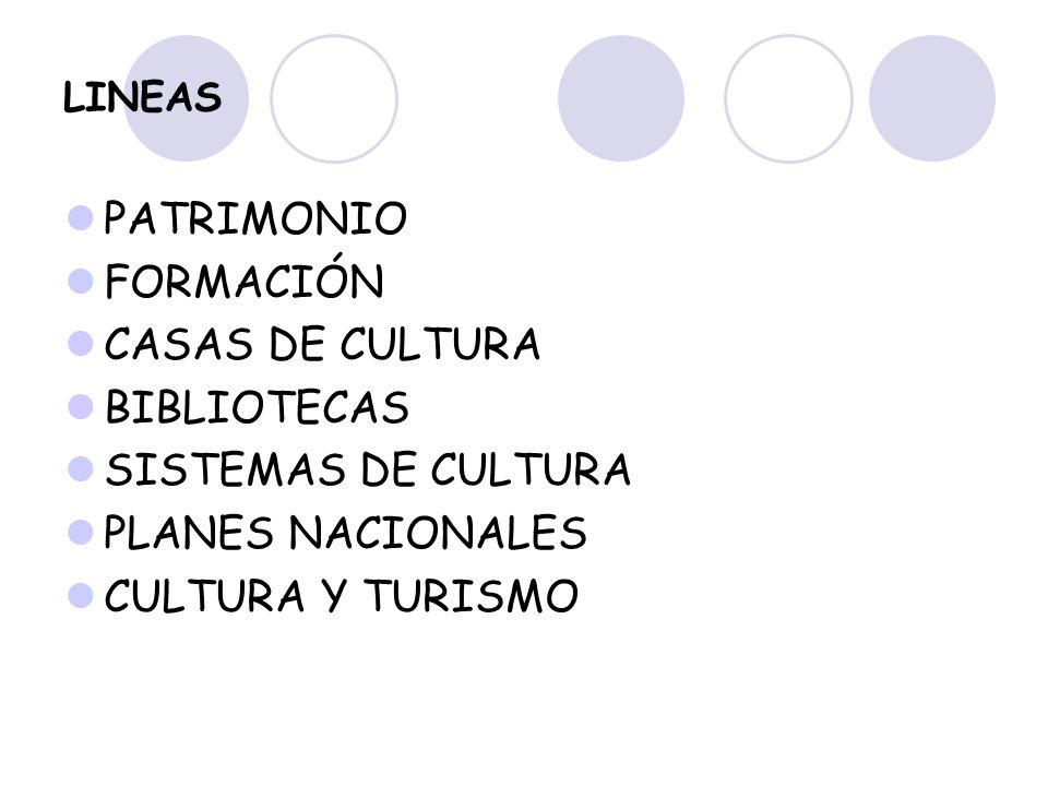 LINEAS PATRIMONIO FORMACIÓN CASAS DE CULTURA BIBLIOTECAS SISTEMAS DE CULTURA PLANES NACIONALES CULTURA Y TURISMO