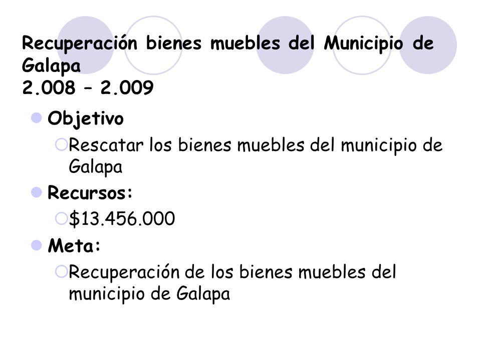 Recuperación bienes muebles del Municipio de Galapa 2.008 – 2.009 Objetivo Rescatar los bienes muebles del municipio de Galapa Recursos: $13.456.000 M