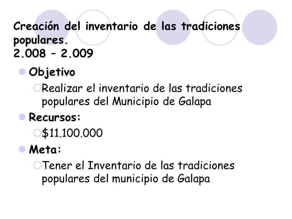 Creación del inventario de las tradiciones populares. 2.008 – 2.009 Objetivo Realizar el inventario de las tradiciones populares del Municipio de Gala