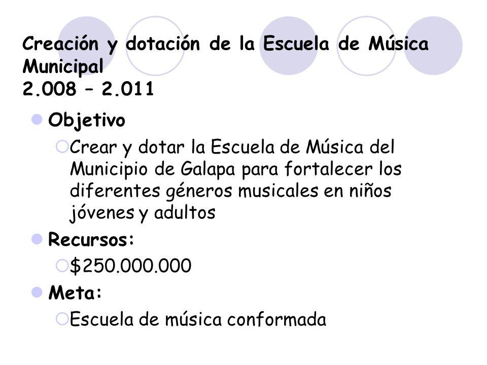 Creación y dotación de la Escuela de Música Municipal 2.008 – 2.011 Objetivo Crear y dotar la Escuela de Música del Municipio de Galapa para fortalece