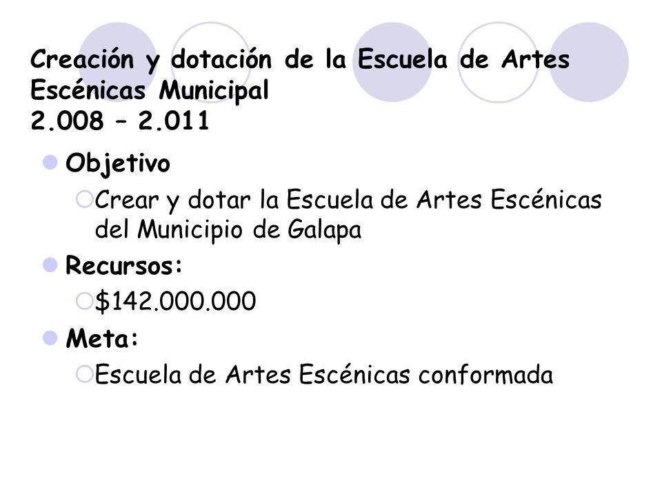Creación y dotación de la Escuela de Artes Escénicas Municipal 2.008 – 2.011 Objetivo Crear y dotar la Escuela de Artes Escénicas del Municipio de Gal