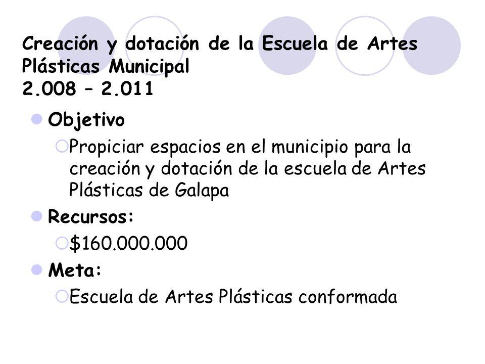 Creación y dotación de la Escuela de Artes Plásticas Municipal 2.008 – 2.011 Objetivo Propiciar espacios en el municipio para la creación y dotación d