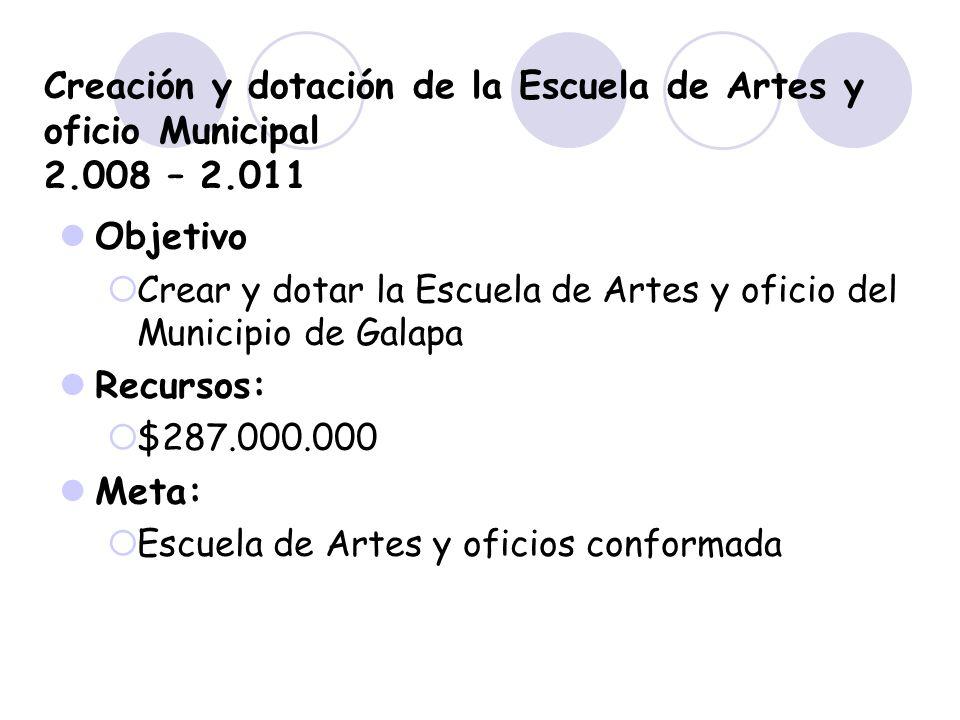 Creación y dotación de la Escuela de Artes y oficio Municipal 2.008 – 2.011 Objetivo Crear y dotar la Escuela de Artes y oficio del Municipio de Galap