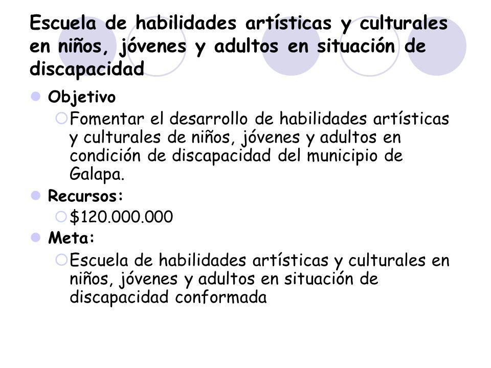 Escuela de habilidades artísticas y culturales en niños, jóvenes y adultos en situación de discapacidad Objetivo Fomentar el desarrollo de habilidades