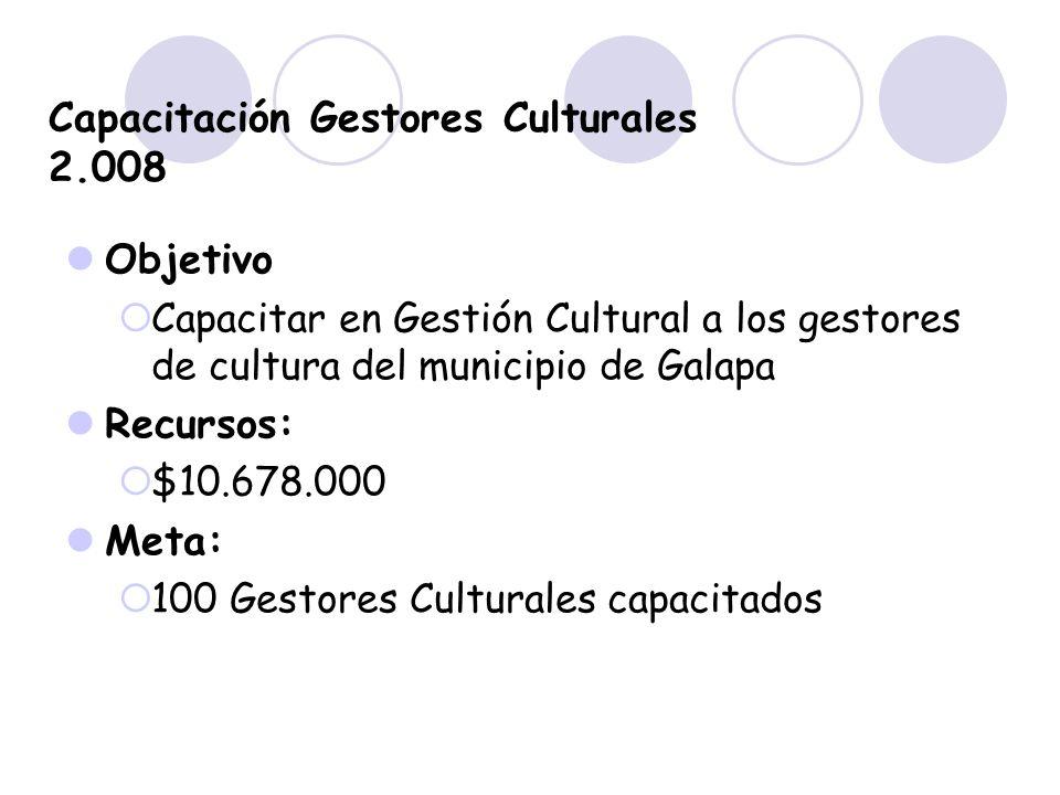 Capacitación Gestores Culturales 2.008 Objetivo Capacitar en Gestión Cultural a los gestores de cultura del municipio de Galapa Recursos: $10.678.000