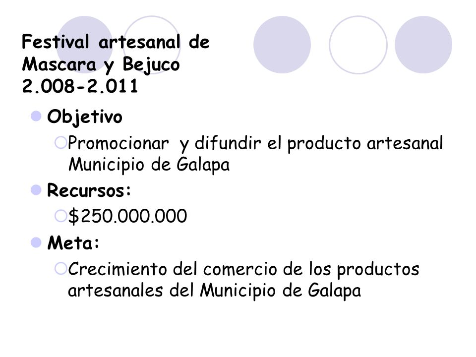Festival artesanal de Mascara y Bejuco 2.008-2.011 Objetivo Promocionar y difundir el producto artesanal Municipio de Galapa Recursos: $250.000.000 Me