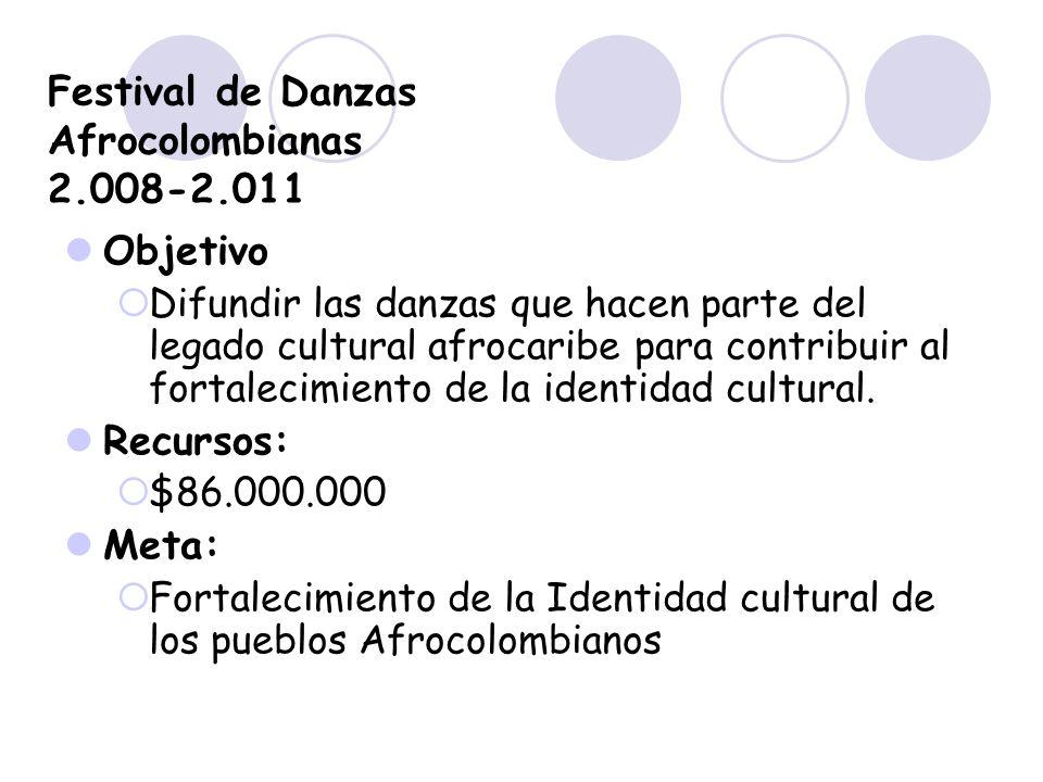 Festival de Danzas Afrocolombianas 2.008-2.011 Objetivo Difundir las danzas que hacen parte del legado cultural afrocaribe para contribuir al fortalec