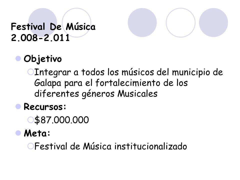 Festival De Música 2.008-2.011 Objetivo Integrar a todos los músicos del municipio de Galapa para el fortalecimiento de los diferentes géneros Musical