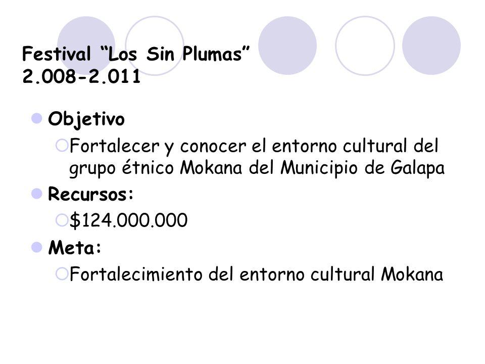 Festival Los Sin Plumas 2.008-2.011 Objetivo Fortalecer y conocer el entorno cultural del grupo étnico Mokana del Municipio de Galapa Recursos: $124.0