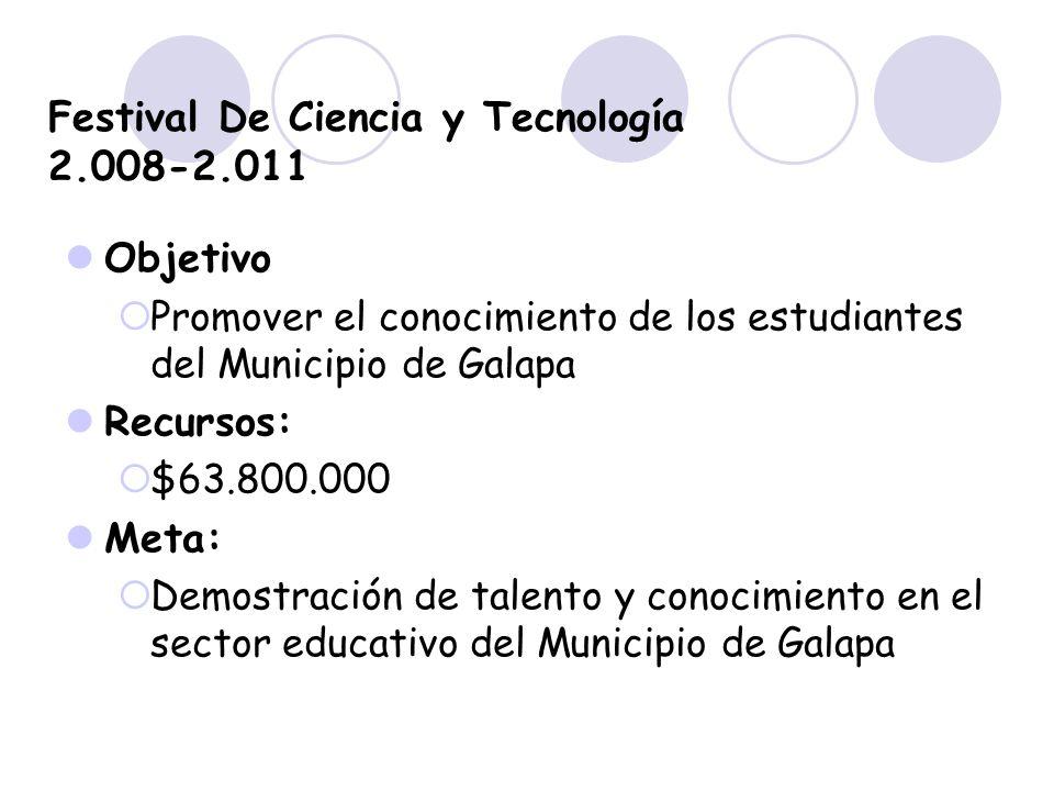 Festival De Ciencia y Tecnología 2.008-2.011 Objetivo Promover el conocimiento de los estudiantes del Municipio de Galapa Recursos: $63.800.000 Meta: