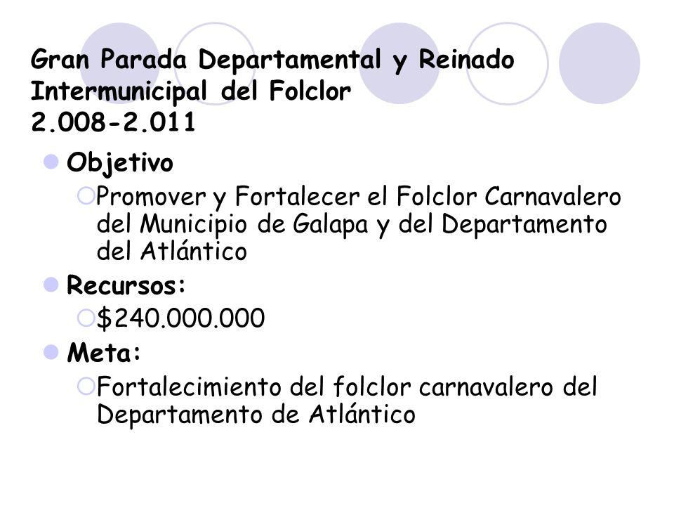 Gran Parada Departamental y Reinado Intermunicipal del Folclor 2.008-2.011 Objetivo Promover y Fortalecer el Folclor Carnavalero del Municipio de Gala