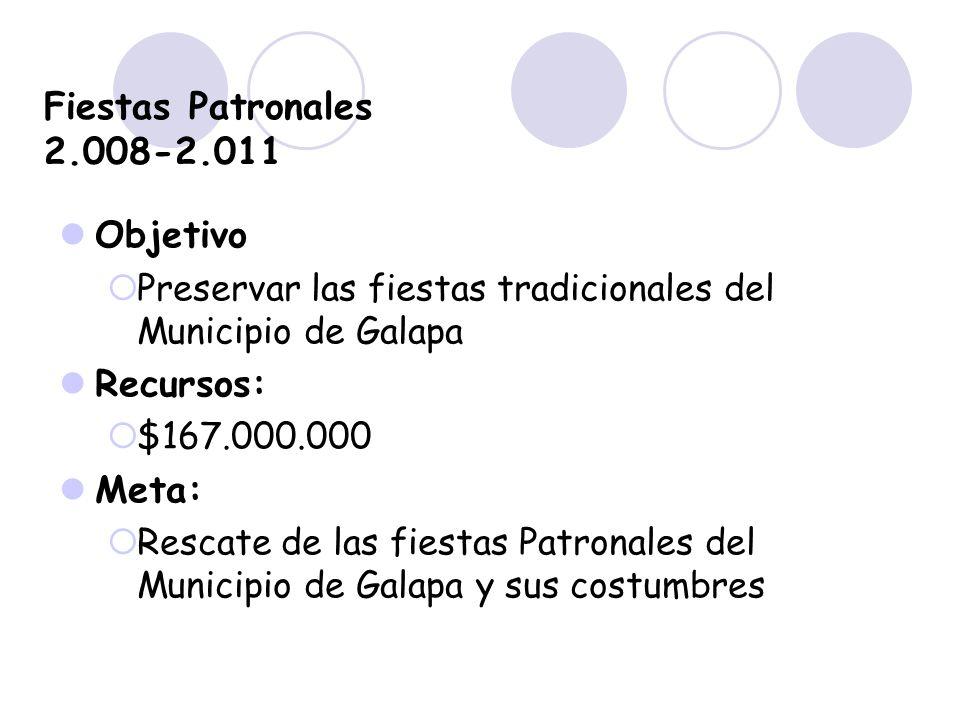 Fiestas Patronales 2.008-2.011 Objetivo Preservar las fiestas tradicionales del Municipio de Galapa Recursos: $167.000.000 Meta: Rescate de las fiesta