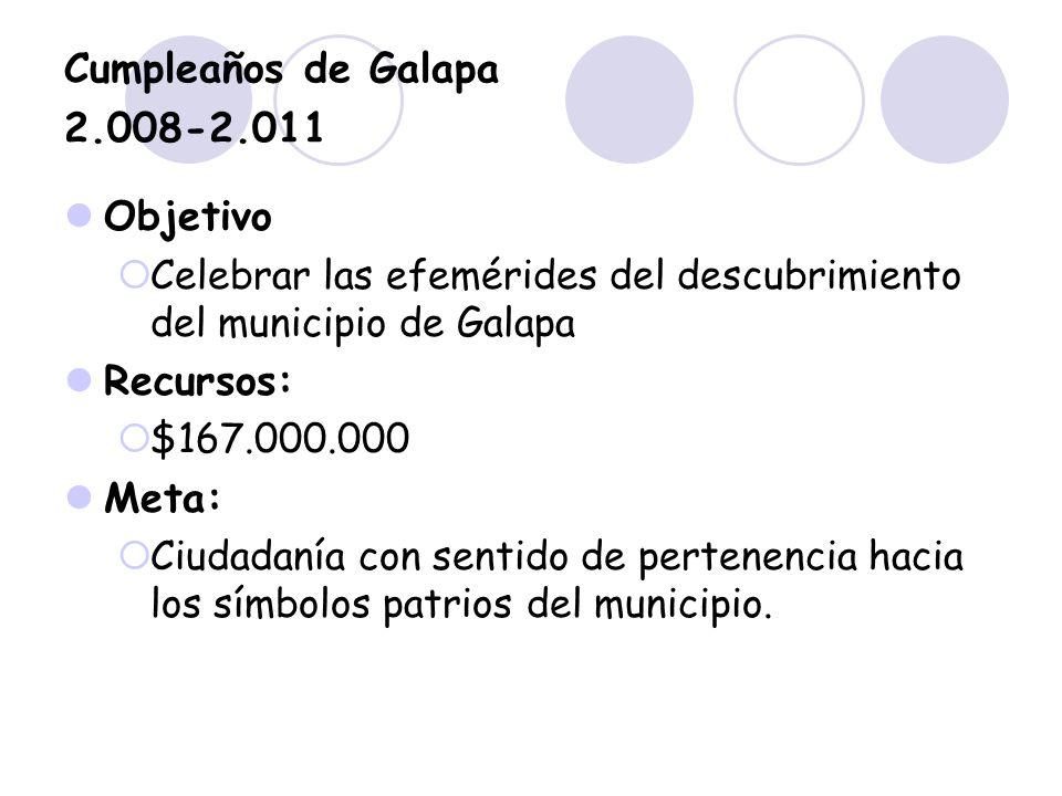 Cumpleaños de Galapa 2.008-2.011 Objetivo Celebrar las efemérides del descubrimiento del municipio de Galapa Recursos: $167.000.000 Meta: Ciudadanía c