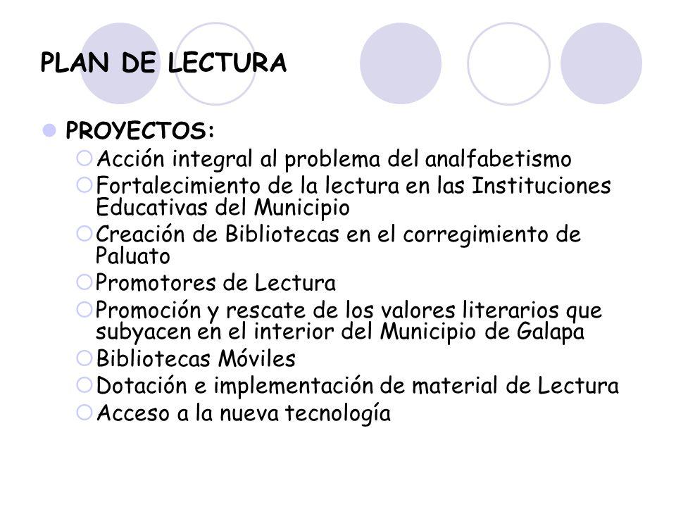 PROYECTOS: Acción integral al problema del analfabetismo Fortalecimiento de la lectura en las Instituciones Educativas del Municipio Creación de Bibli