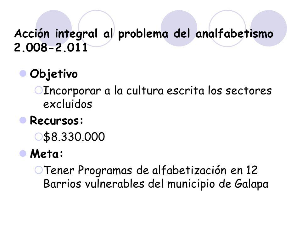 Acción integral al problema del analfabetismo 2.008-2.011 Objetivo Incorporar a la cultura escrita los sectores excluidos Recursos: $8.330.000 Meta: T