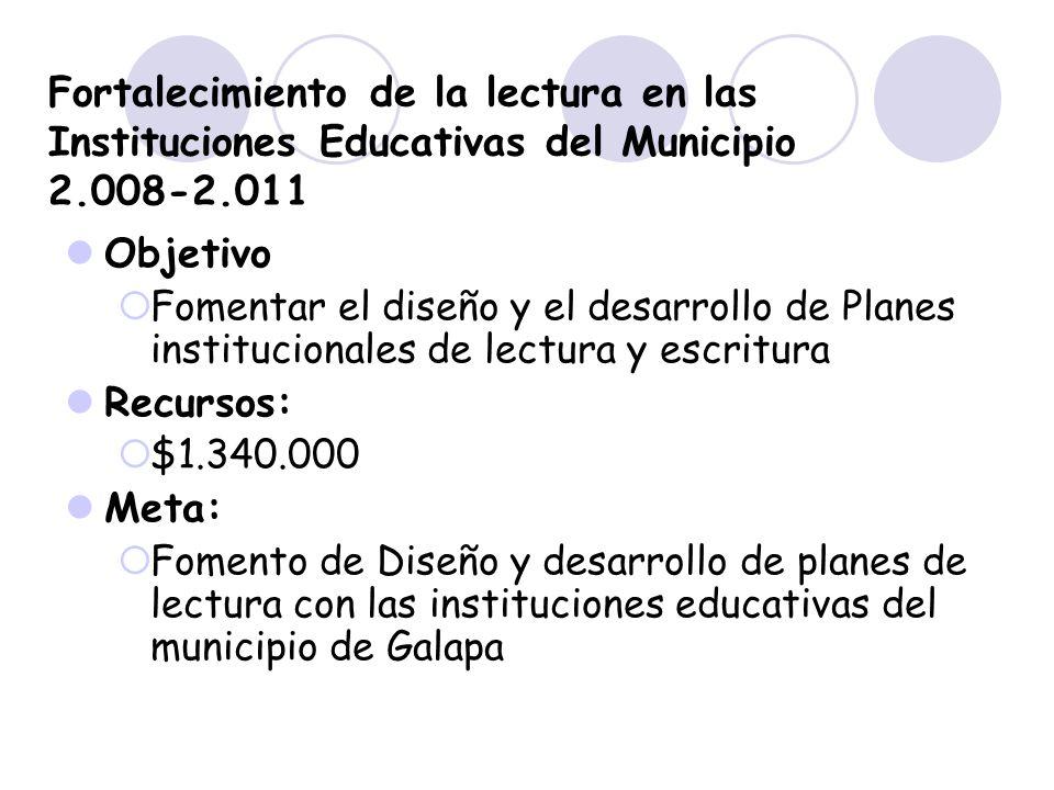 Fortalecimiento de la lectura en las Instituciones Educativas del Municipio 2.008-2.011 Objetivo Fomentar el diseño y el desarrollo de Planes instituc
