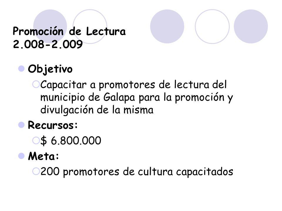 Promoción de Lectura 2.008-2.009 Objetivo Capacitar a promotores de lectura del municipio de Galapa para la promoción y divulgación de la misma Recurs