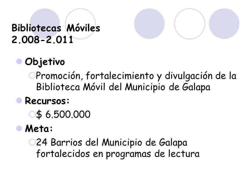 Bibliotecas Móviles 2.008-2.011 Objetivo Promoción, fortalecimiento y divulgación de la Biblioteca Móvil del Municipio de Galapa Recursos: $ 6.500.000